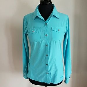 Marmot Botton Up Hiking Shirt Size Small Blue